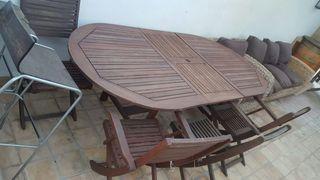 conjunto de jardín teka mas 4 sillas