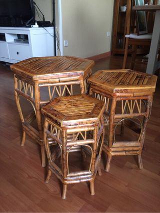 Mesas nido auxiliar de bamb de segunda mano por 40 en for Wallapop mesas