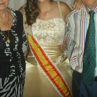 Vestido largo dorado - Talla 38