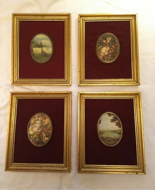 4 cuadritos clasicos en seda