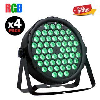 4 FOCO PAR LED DMX RGB 54 X 1'5W NUEVOS