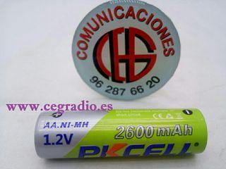 Pkcell Batería Recargable Ni-MH AA 2600 mAh 1.2 V