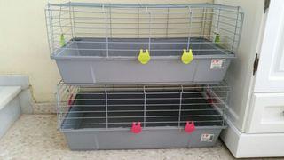 2 jaulas de conejos y coballas