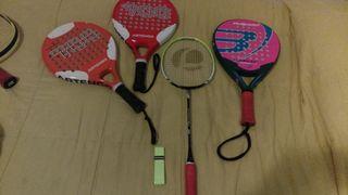 Palas padel y raqueta badminton