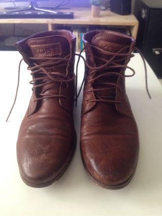 Boots cuir marron KOST