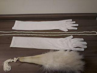 10€ kit disfraz abanico plumas, guantes blancos..