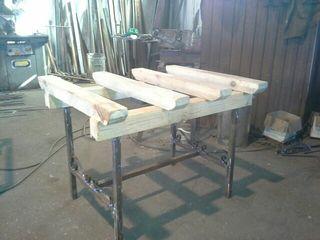 mesas de forja y madera