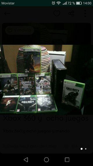 xbox 360 con 8 juegos