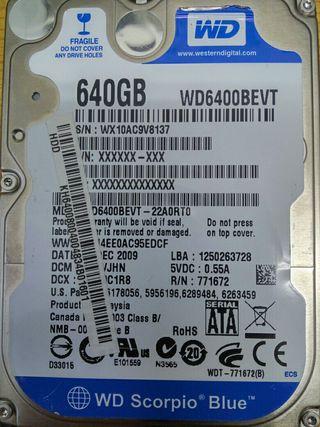 HD de portatil, WD 640 gb
