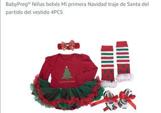 vestido navidad, papa noel , niñas
