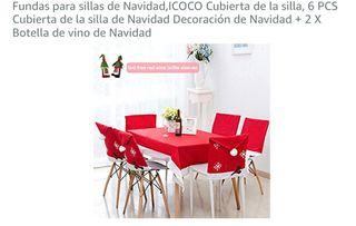 decoracion mesa, sillas y botellas navidad