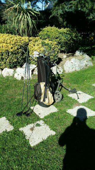 Carro de golf + hierros **maderas por separado**