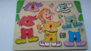 puzzle madera vestir muñecas