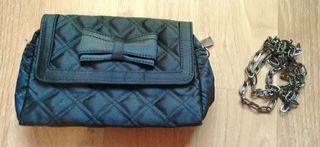 Black Clutch handbag with detachable strap