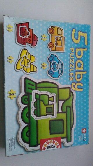 5 puzzles baby de vehiculos