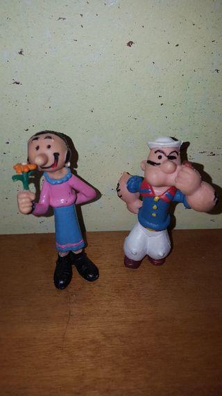 lote figuras pvc goma Popeye y Olivia Comics Spain