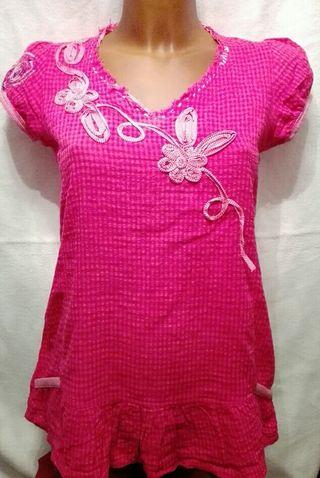 camisa rosa bordada