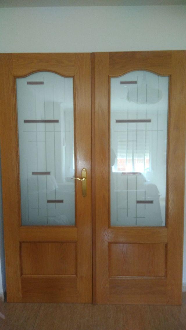 Puertas de comedor y marco con cristales buenos de segunda mano por ...