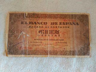 billete cien pesetas 1938
