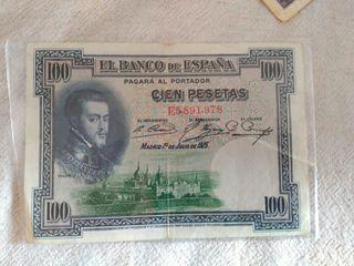 billete 100 pesetas del año 1925