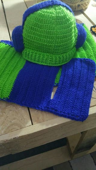 gorrro bufanda ganchillo nuevo para niñ@s