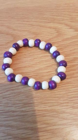 purple & cream wooden bracelet
