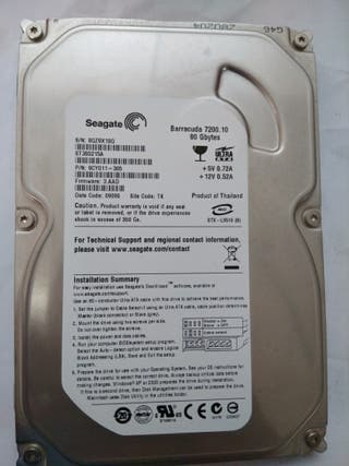 Disco duro 80gb seagate ide 3.5