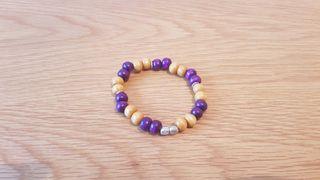 purple and brown bracelet.