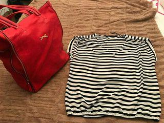 Bolso rojo y camiseta L
