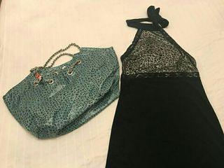 Bolso NUEVO y vestido negro talla única