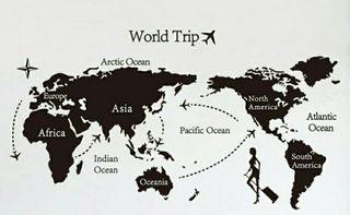 vinilo decorativo mapa mundo viaje