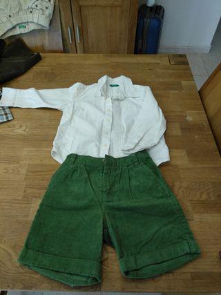 pantalon y camisa marca benetton Gocco talla 3/4
