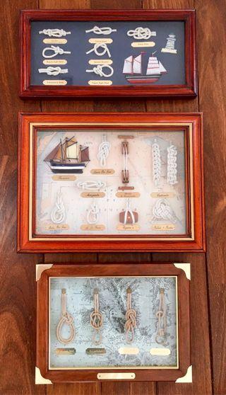 Pack 3 cuadros nudos marineros