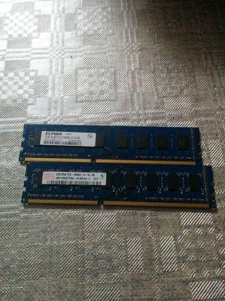 tarjetas de memoria RAM DDR3 de 2GB cada una