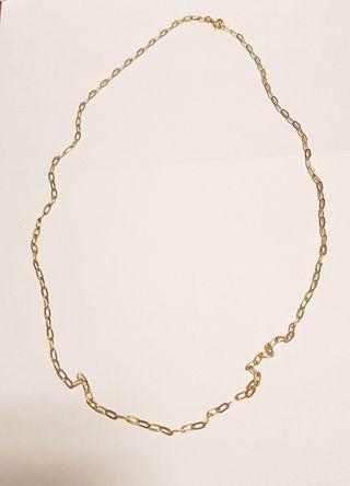 Cadena de oro de 18 K larga, forzada, ovalada