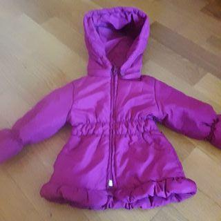 abrigo, plumas rosa 12 meses
