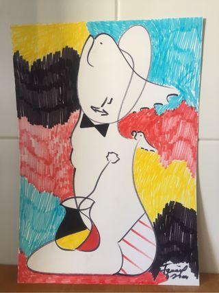 Pintura original firmada cubista.