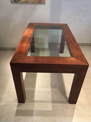 Mesa de comedor cristal y madera