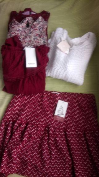 Camiseta jersys y falda nuevos color vino