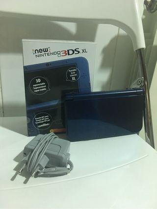 Nintendo 3ds xl azul con cargador y funda