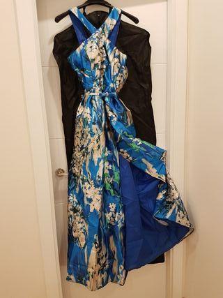 vestido fiesta de noche azul