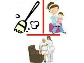 Cuidado de personas mayores, niños y limpieza.