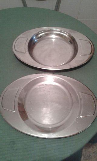 lote de 2 platos de aluminio