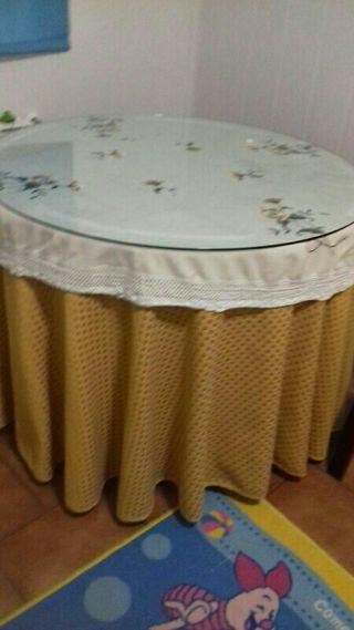 mesa de brasero con cristal y su funda
