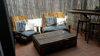 Conjunto juego jardin madera sofas y mesa