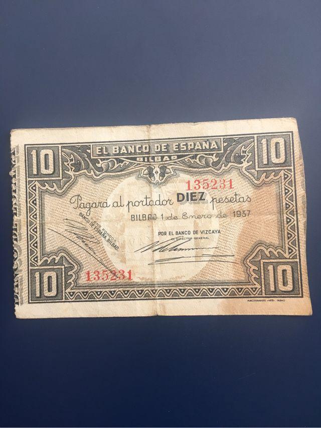 Billete 10 Pesetas 1937 BILBAO / SELLO EN SECO