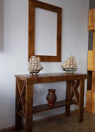 mueble de entradita o recibidor rustico de fabrica