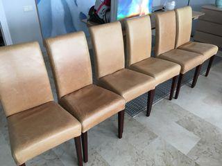 6 sillas de piel