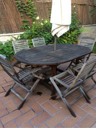 Conjunto mesa y sillas jardin de segunda mano por 200 en for Mesa y sillas jardin segunda mano