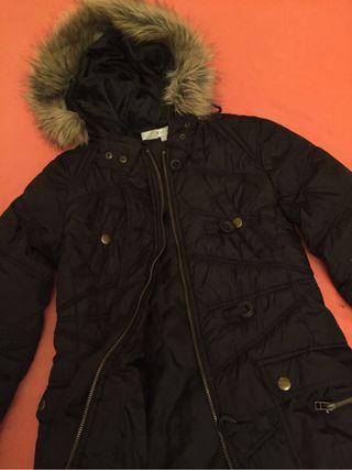 hot sale online d7e9c c02d9 Capucha Negro Zara Plumas De Por Segunda Acolchado Mano Pelo Largo BxIwwAPO